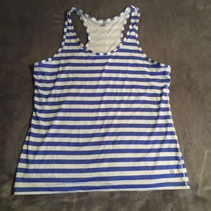 Gap Blue and White Striped Activewear Tank Top